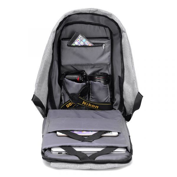 Men's Backpack with USB Charge Port - Inside