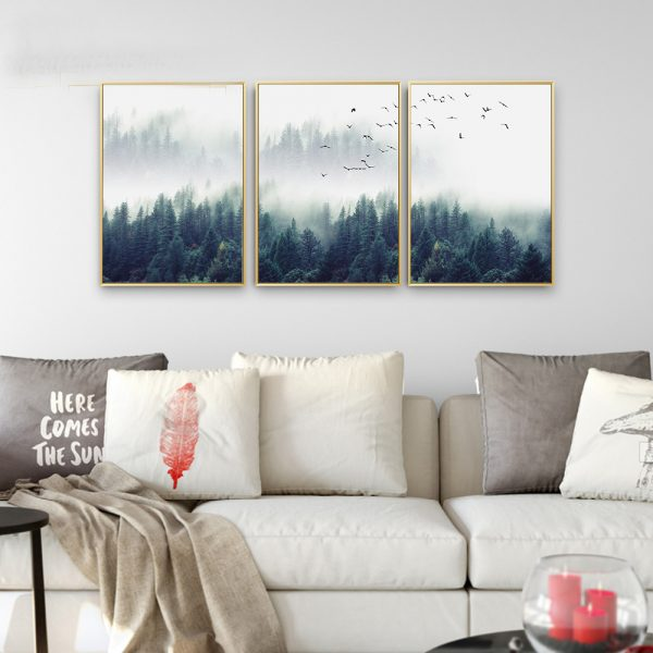 Canvas Wall Art - Nordic Forest Landscape - 2
