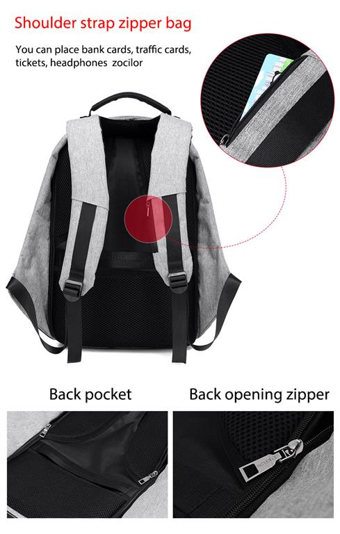 Men's Backpack with USB Charge Port - 5