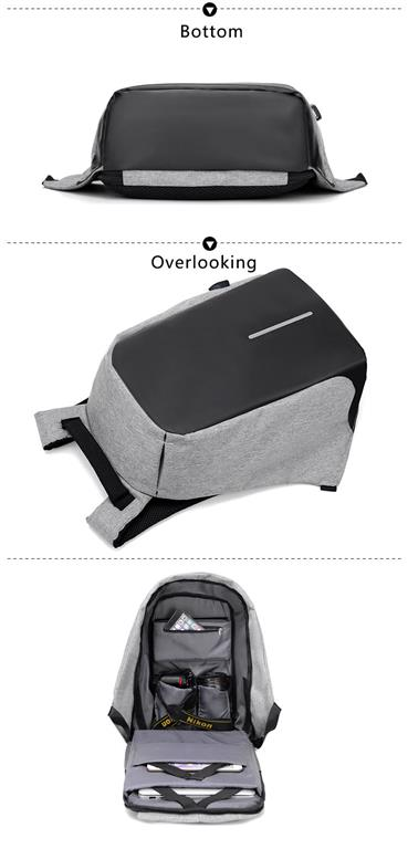 Men's Backpack with USB Charge Port - Bottom