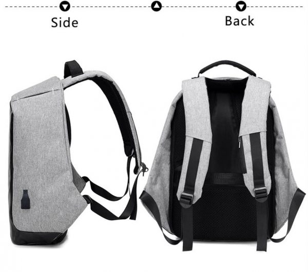 Men's Backpack with USB Charge Port - Side