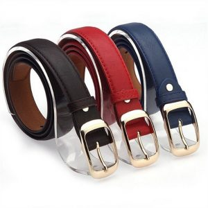 Women's Faux Leather Belt With Metal Buckle