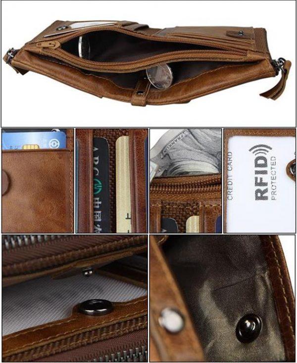 Large Genuine Leather Men's Wallet - interior