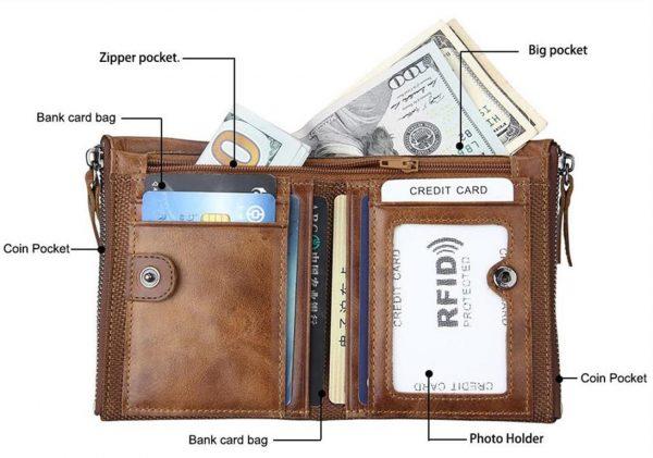 Large Genuine Leather Men's Wallet - open