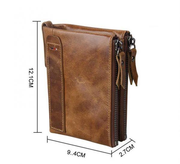 Large Genuine Leather Men's Wallet - size
