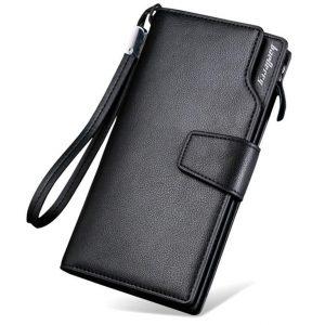 Men's Long Leather Multi-Function Wallet - Black