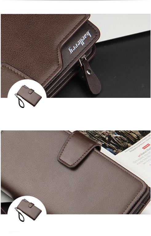 Long Men's Leather Multi-Function Wallet - Demo Brown