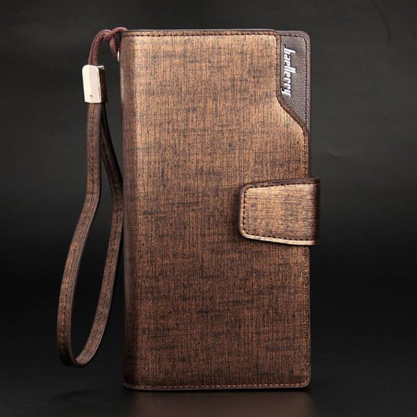 Long Men's Leather Multi-Function Wallet - Gold Upright