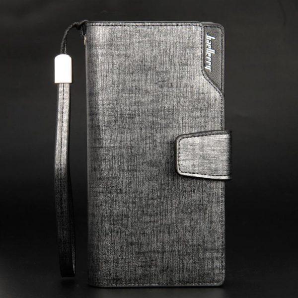 Long Men's Leather Multi-Function Wallet - Silver Upright