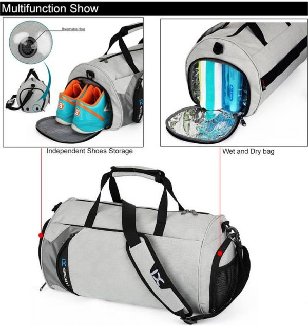 Men's Cylindrical Sports Gym Bag - Features