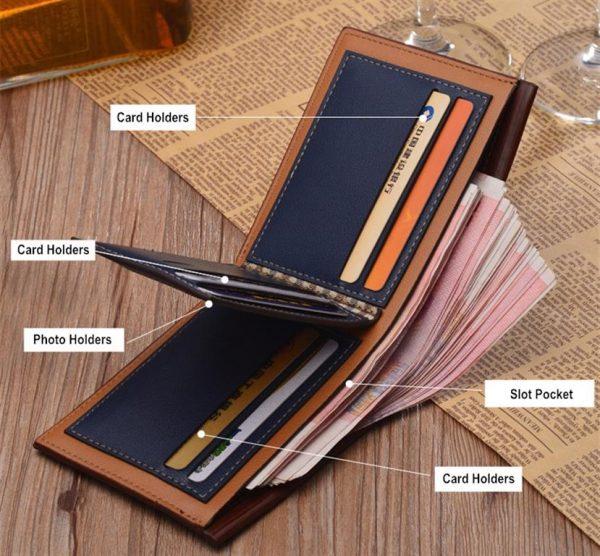 Men's Leather Short Slim Wallet - Interior