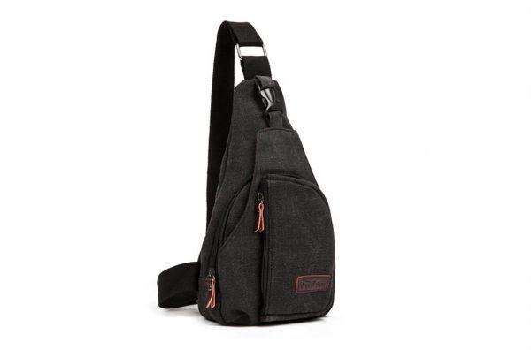 Men's Military Canvas Shoulder Bag - Black