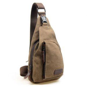 Men's Military Canvas Shoulder Bag - Brown