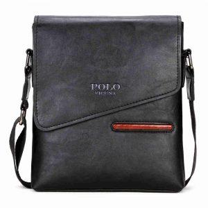 Men's Vintage Frosted Leather Messenger Bag - Black