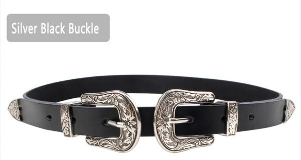 Women's Carved Double Buckle Belt - Silver Black