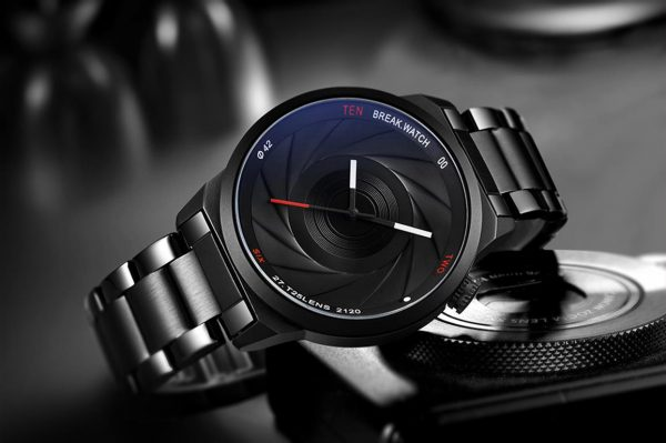 Men's Photographer Series Camera Style Watch - Black - Front