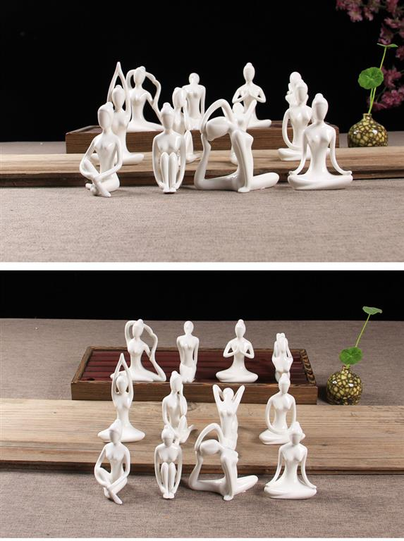 White Ceramic Yoga Figurines - set 4