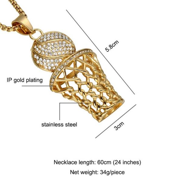Basketball Hoop Pendant With Chain – Bling Collection - Gold