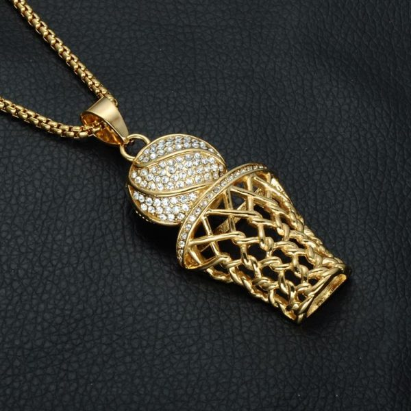 Basketball Hoop Pendant With Chain - Bling Collection - Black Surface - Gold