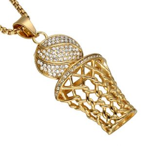 Basketball Hoop Pendant With Chain - Bling Collection - Gold