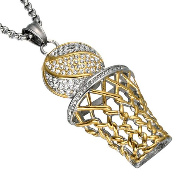 Basketball Hoop Pendant With Chain - Bling Collection - Gold - Silver