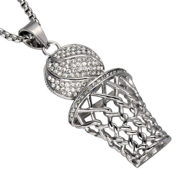 Basketball Hoop Pendant With Chain - Bling Collection - Silver