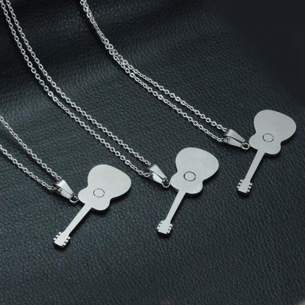 Rock Guitar Pendant Necklace for Men - Back