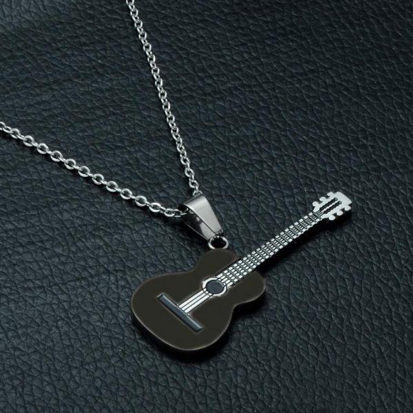 Rock Guitar Pendant Necklace for Men - Black 2