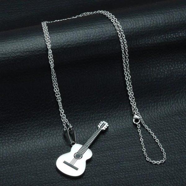 Rock Guitar Pendant Necklace for Men - Chain