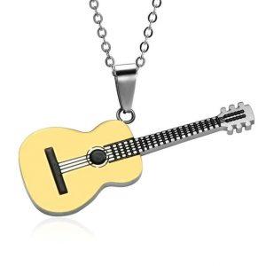 Rock Guitar Pendant Necklace for Men - Gold
