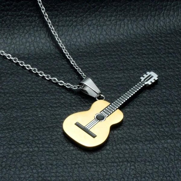 Rock Guitar Pendant Necklace for Men - Golden 2
