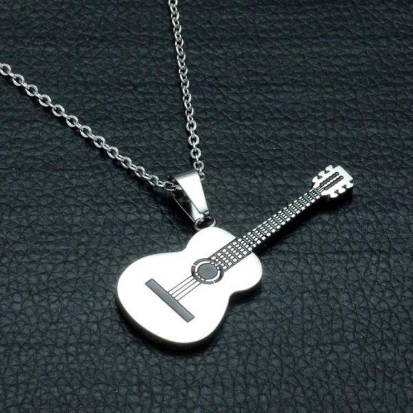 Rock Guitar Pendant Necklace for Men - Silver 2