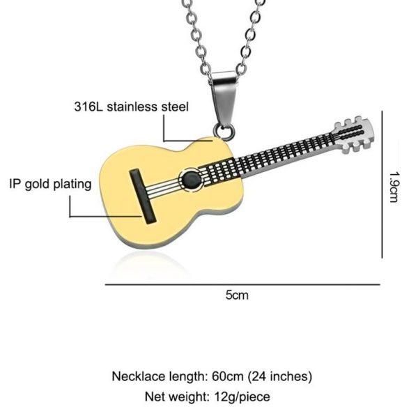 Rock Guitar Pendant Necklace for Men - Size