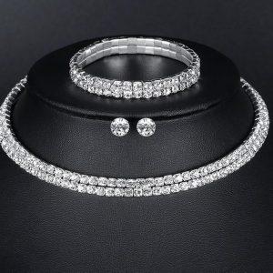 Silver Circle Bridal Jewelry Set
