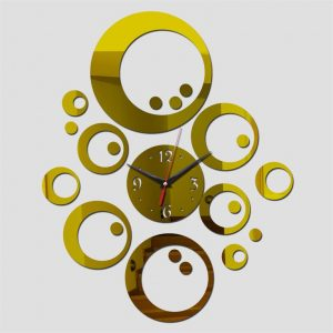 Wall Clock With Mirror Decor - Bubbles - Gold Wall
