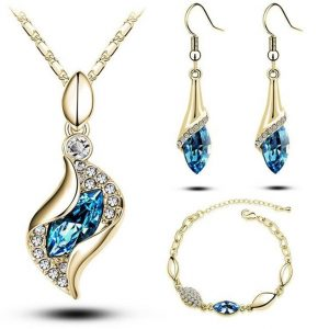 Water Drop Crystal Jewelry Sets - Light Blue Gold