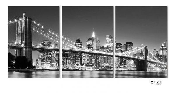 3 Piece Brooklyn Bridge Picture Print on Canvas - 1