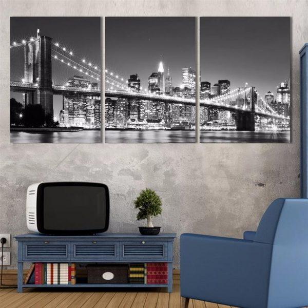 3 Piece Brooklyn Bridge Picture Print on Canvas - 2