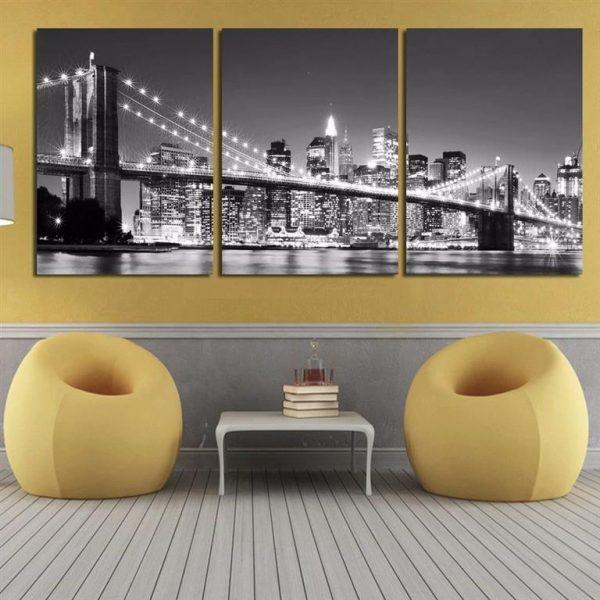 3 Piece Brooklyn Bridge Picture Print on Canvas - 3