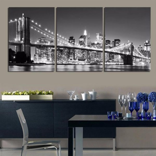 3 Piece Brooklyn Bridge Picture Print on Canvas - 4