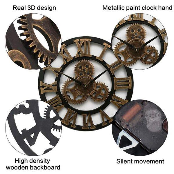 Antique 3D Gear Wall Clock - Desc
