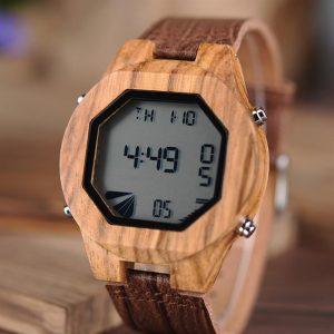 Digital Wooden Watch