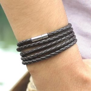 Men's Leather Wrapped Bracelet - Brown