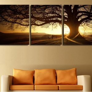 Tree In Sunset Canvas Wall Art - 2