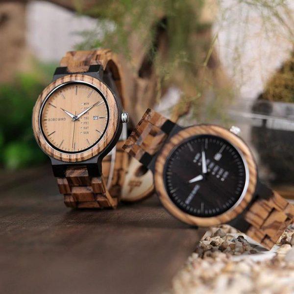 Men's Wooden Watch With Week Display - 1