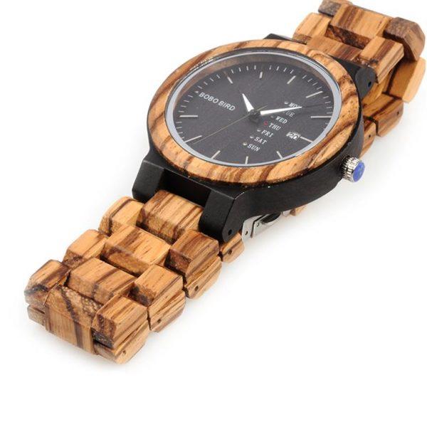 Men's Wooden Watch With Week Display - 2