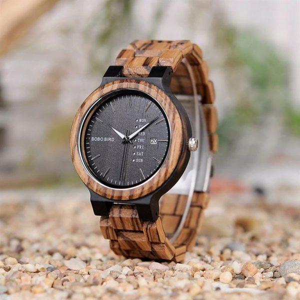 Men's Wooden Watch With Week Display - Dark