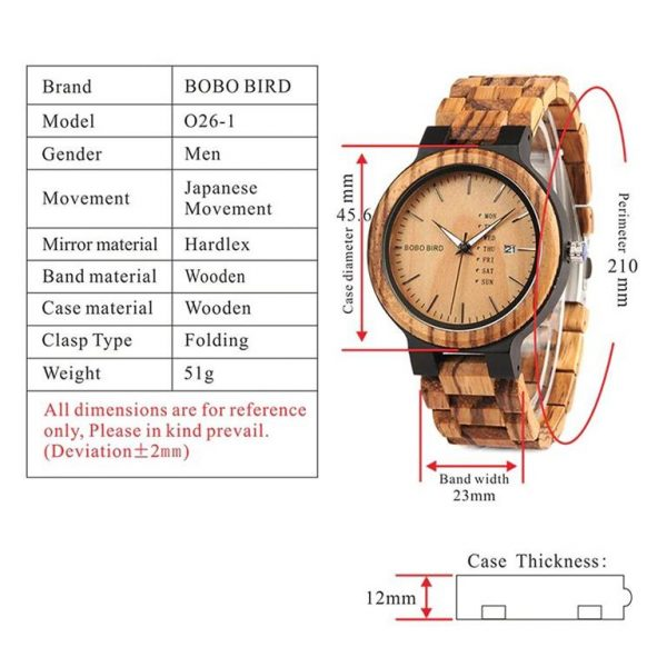 Men's Wooden Watch With Week Display - Specs