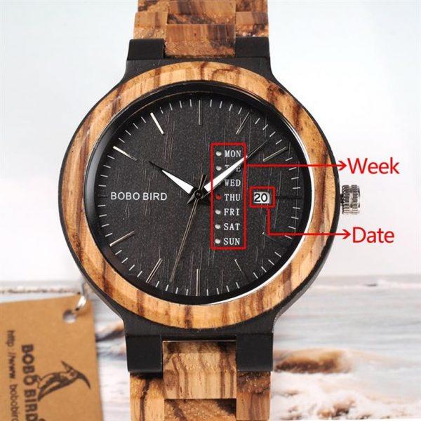Men's Wooden Watch With Week Display - date