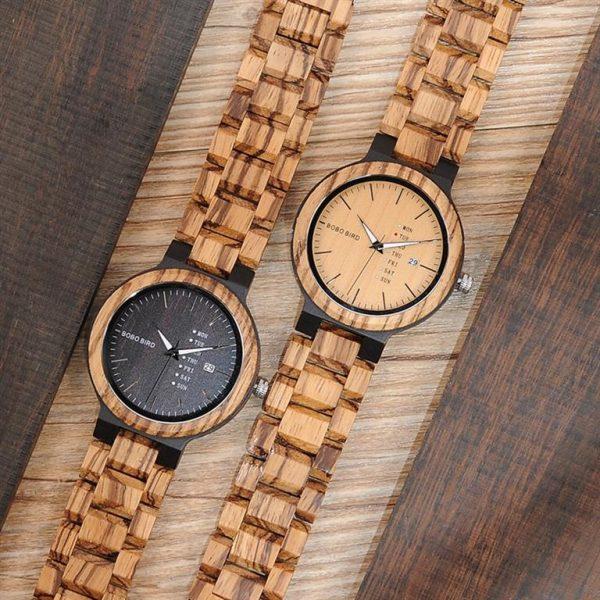 Men's Wooden Watch With Week Display - duo